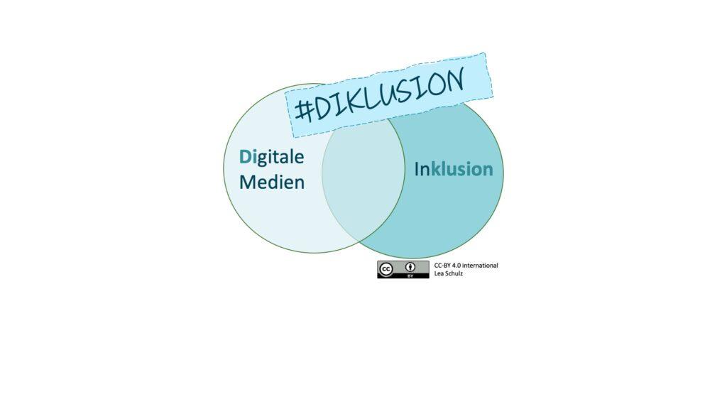 """Auf dem Bild sind zwei Kreise zu sehen, in dem einen steht das Wort Digitale Medien (D und i hervorgehoben) und in dem anderen Inklusion (klusion ist hervorgehoben). Ein Rechtecht steht über der Schnittmenge der Kreise mit dem Schriftzug """"Diklusion""""."""